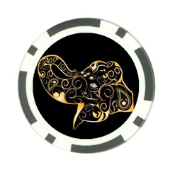 Beautiful Elephant Made Of Golden Floral Elements Poker Chip Card Guards (10 Pack)