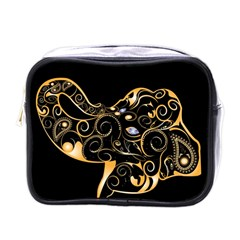 Beautiful Elephant Made Of Golden Floral Elements Mini Toiletries Bags