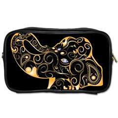 Beautiful Elephant Made Of Golden Floral Elements Toiletries Bags