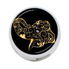 Beautiful Elephant Made Of Golden Floral Elements 4-Port USB Hub (Two Sides)