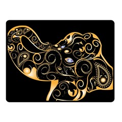 Beautiful Elephant Made Of Golden Floral Elements Fleece Blanket (Small)