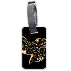 Beautiful Elephant Made Of Golden Floral Elements Luggage Tags (One Side)