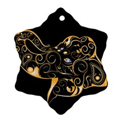 Beautiful Elephant Made Of Golden Floral Elements Ornament (snowflake)