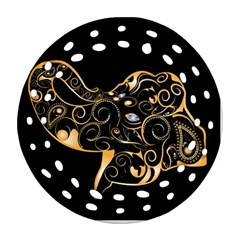 Beautiful Elephant Made Of Golden Floral Elements Round Filigree Ornament (2side)