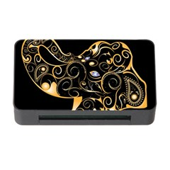 Beautiful Elephant Made Of Golden Floral Elements Memory Card Reader With Cf