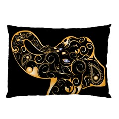 Beautiful Elephant Made Of Golden Floral Elements Pillow Cases (Two Sides)