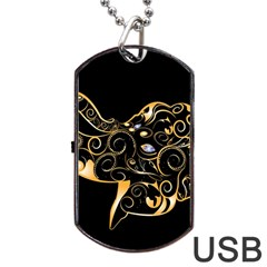 Beautiful Elephant Made Of Golden Floral Elements Dog Tag Usb Flash (one Side)