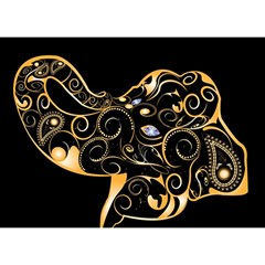 Beautiful Elephant Made Of Golden Floral Elements Birthday Cake 3D Greeting Card (7x5)