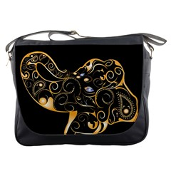 Beautiful Elephant Made Of Golden Floral Elements Messenger Bags