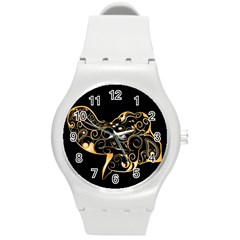 Beautiful Elephant Made Of Golden Floral Elements Round Plastic Sport Watch (M)