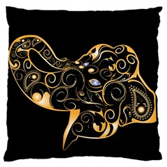 Beautiful Elephant Made Of Golden Floral Elements Large Cushion Cases (Two Sides)