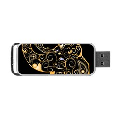 Beautiful Elephant Made Of Golden Floral Elements Portable USB Flash (One Side)