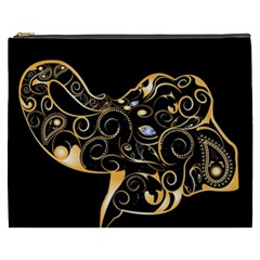 Beautiful Elephant Made Of Golden Floral Elements Cosmetic Bag (XXXL)