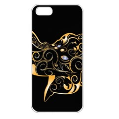 Beautiful Elephant Made Of Golden Floral Elements Apple iPhone 5 Seamless Case (White)