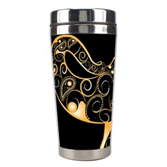 Beautiful Elephant Made Of Golden Floral Elements Stainless Steel Travel Tumblers