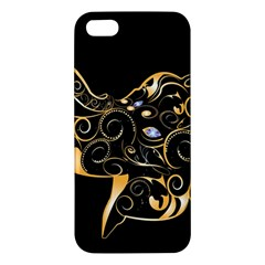 Beautiful Elephant Made Of Golden Floral Elements iPhone 5S Premium Hardshell Case