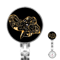 Beautiful Elephant Made Of Golden Floral Elements Stainless Steel Nurses Watches