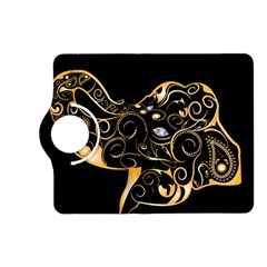 Beautiful Elephant Made Of Golden Floral Elements Kindle Fire HD (2013) Flip 360 Case