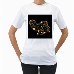 Beautiful Elephant Made Of Golden Floral Elements Women s T-Shirt (White)