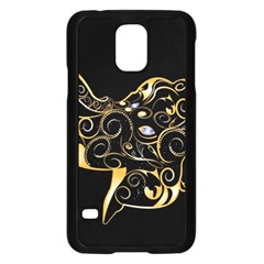 Beautiful Elephant Made Of Golden Floral Elements Samsung Galaxy S5 Case (Black)