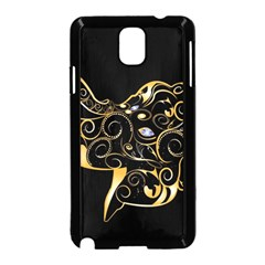 Beautiful Elephant Made Of Golden Floral Elements Samsung Galaxy Note 3 Neo Hardshell Case (Black)
