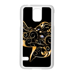 Beautiful Elephant Made Of Golden Floral Elements Samsung Galaxy S5 Case (White)