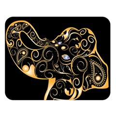 Beautiful Elephant Made Of Golden Floral Elements Double Sided Flano Blanket (large)