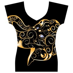 Beautiful Elephant Made Of Golden Floral Elements Women s V-Neck Cap Sleeve Top