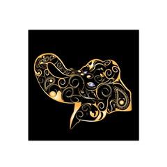 Beautiful Elephant Made Of Golden Floral Elements Satin Bandana Scarf