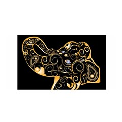 Beautiful Elephant Made Of Golden Floral Elements Satin Wrap