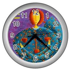 Libra Zodiac Sign Wall Clocks (Silver)