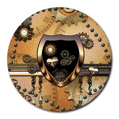 Steampunk, Shield With Hearts Round Mousepads