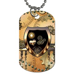 Steampunk, Shield With Hearts Dog Tag (One Side)