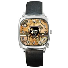 Steampunk, Shield With Hearts Square Metal Watches