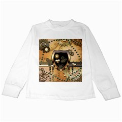 Steampunk, Shield With Hearts Kids Long Sleeve T-Shirts
