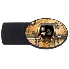 Steampunk, Shield With Hearts USB Flash Drive Oval (4 GB)