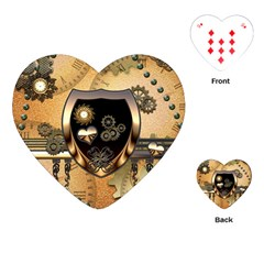 Steampunk, Shield With Hearts Playing Cards (Heart)