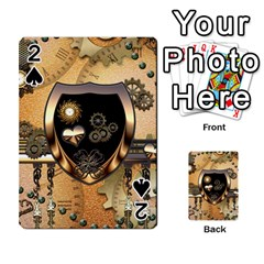 Steampunk, Shield With Hearts Playing Cards 54 Designs