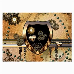 Steampunk, Shield With Hearts Large Glasses Cloth
