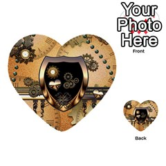 Steampunk, Shield With Hearts Multi Purpose Cards (heart)