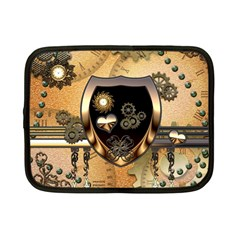 Steampunk, Shield With Hearts Netbook Case (Small)