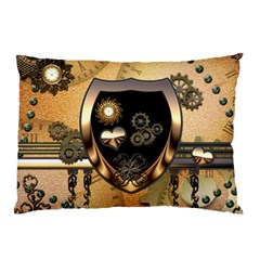 Steampunk, Shield With Hearts Pillow Cases
