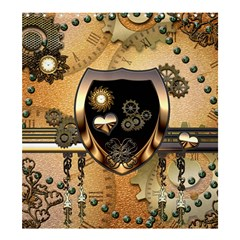 Steampunk, Shield With Hearts Shower Curtain 66  x 72  (Large)