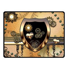 Steampunk, Shield With Hearts Fleece Blanket (small)