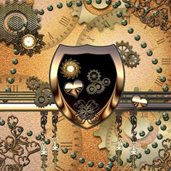 Steampunk, Shield With Hearts Magic Photo Cubes