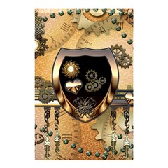 Steampunk, Shield With Hearts Shower Curtain 48  X 72  (small)