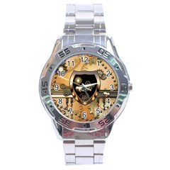 Steampunk, Shield With Hearts Stainless Steel Men s Watch