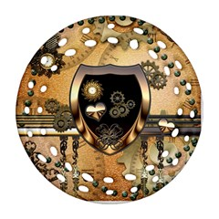 Steampunk, Shield With Hearts Round Filigree Ornament (2side)