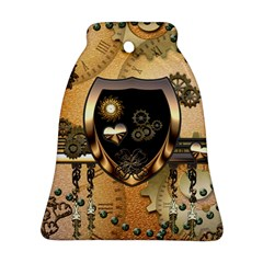 Steampunk, Shield With Hearts Bell Ornament (2 Sides)