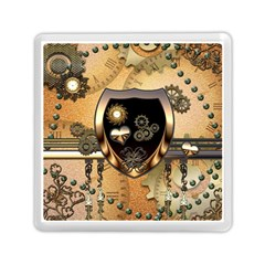 Steampunk, Shield With Hearts Memory Card Reader (Square)